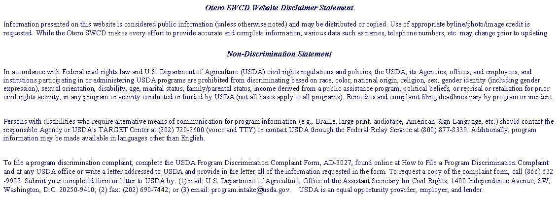 Text Box: Otero SWCD Website Disclaimer Statement 